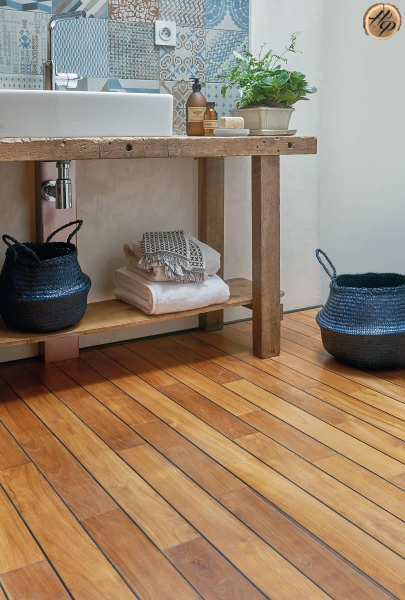 Parquet pour salle de bain pont de bateau en bois exotique Teck ...